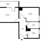 Beispielgrundriss Am Volkspark Friedrichshain, 2-Zimmer-Wohnung mit Balkon, Wohnfläche ca. 49 m²