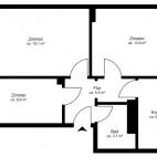 Beispielgrundriss Blümchenviertel, 2,5-Zimmer-Wohnung ohne Balkon, Wohnfläche ca. 55 m²