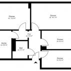 Beispielgrundriss Blümchenviertel, 2 2/2-Zimmer-Wohnung ohne Balkon, Wohnfläche ca. 69 m²