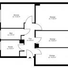 Beispielgrundriss Dichter-Viertel, 2 2/2-Zimmer-Wohnung ohne Balkon, Wohnfläche ca. 69 m²