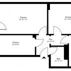 Beispielgrundriss Mühlenkiez (Einsteinstr., Kniprodestr., Pieskower Weg), 2,5-Zimmer-Wohnung mit Balkon, Wohnfläche ca. 57 m²