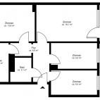 Beispielgrundriss Mühlenkiez (Einsteinstr., Kniprodestr., Pieskower Weg), 2 2/2-Zimmer-Wohnung mit Balkon, Wohnfläche ca. 68 m²