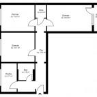 Beispielgrundriss Mühlenkiez (Gürtelstr., Michelangelostr.), 3-Zimmer-Wohnung mit Balkon, Wohnfläche ca. 75 m²