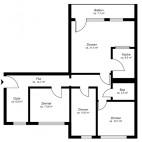 Beispielgrundriss Mühlenkiez (Hanns-Eisler-Str., Thomas-Mann-Str.), 4-Zimmer-Wohnung mit Balkon, Wohnfläche ca. 90 m²