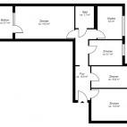 Beispielgrundriss Thälmann Park, 3,5-Raum-Wohnung mit Balkon, Wohnfläche ca. 79 m²