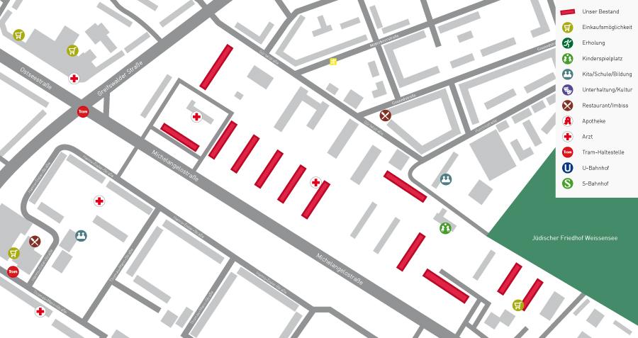 Lageplan Mühlenkiez Michelangelostraße Gürtelstraße