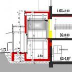 Ansicht als Querschnitt des Aufzugsanbaus