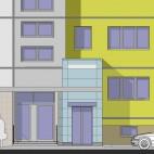 Ansicht der Hausfront nach Aufzugsanbau