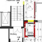 Grundriss EG der Thomas-Mann-Straße 53 mit Aufzugsanbau im Hausflurbereich
